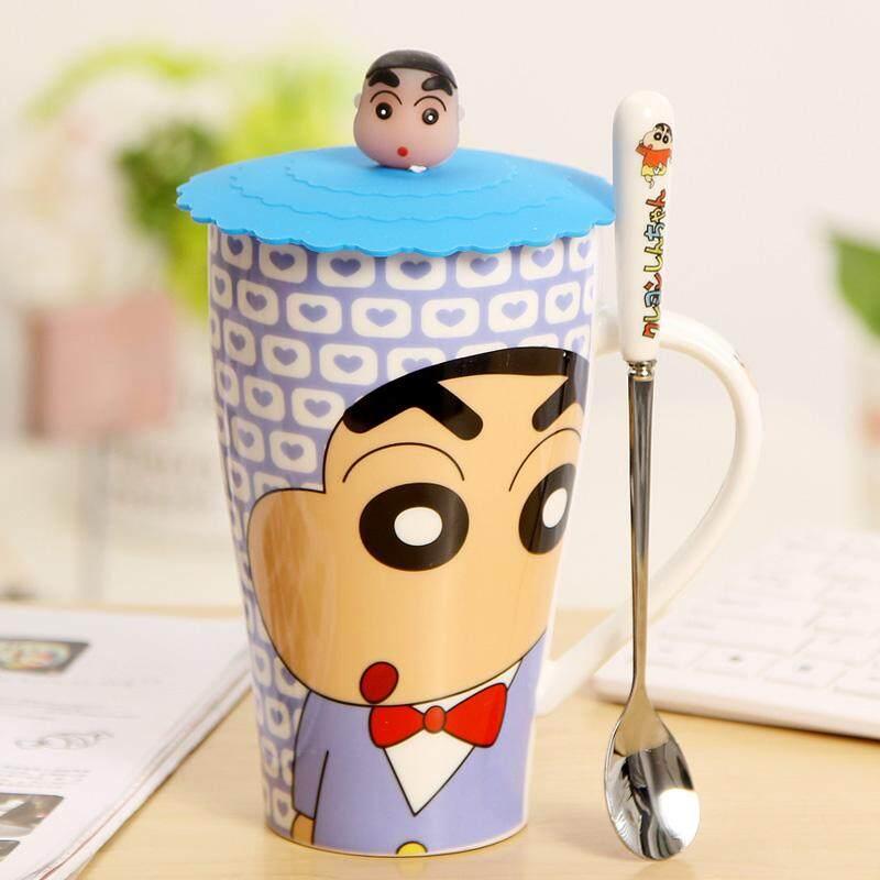 Creative Glass Large Capacity Cup with Lid Send Spoon Cup Cartoon Cup  Shinchan Mug Ceramic Couple's Cups