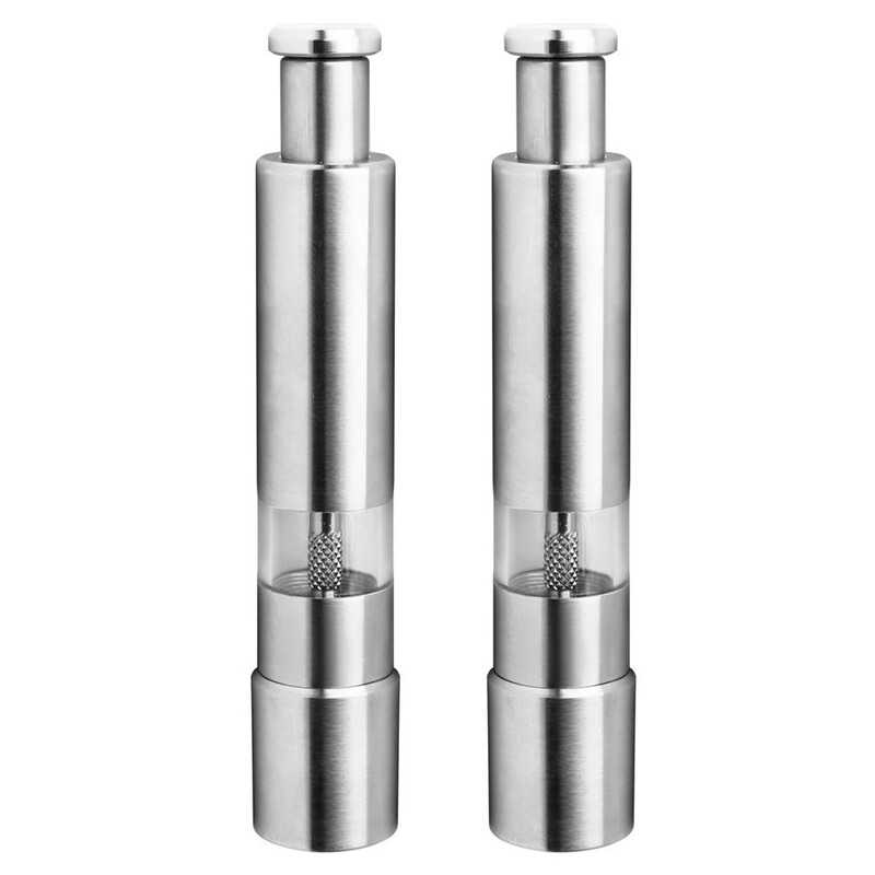 Salt and Pepper Mill Set, Stainless Steel Salt and Pepper Grinder Durable One Hand Operation Salt and Pepper Mill 2 Pack