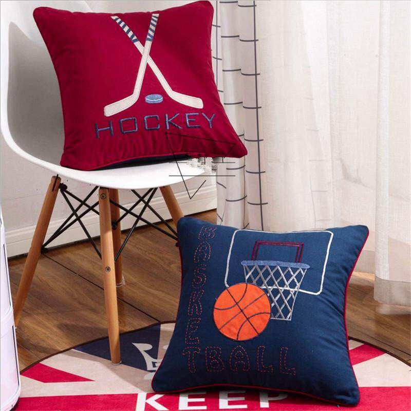 Square Cotton Cloth Basketball Hockey Embroidered Cushion Chair Waist Back Seat Boy Children Room Pillow 48x48cm