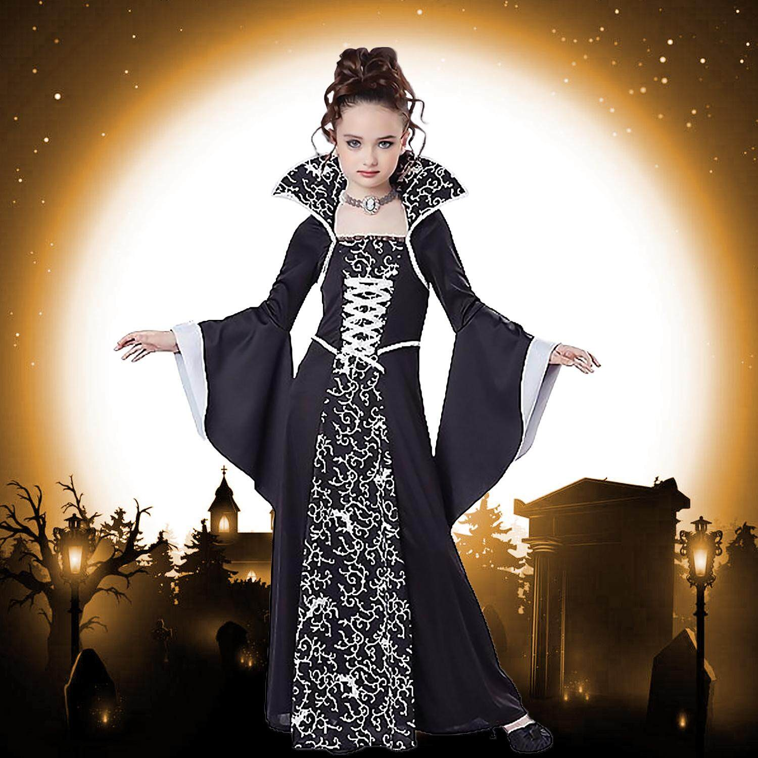 Random Style Kid Girls Fashion Classic Witch Dress Costume for Halloween Party Cosplay Role Play Stage Performance Photography Costumes