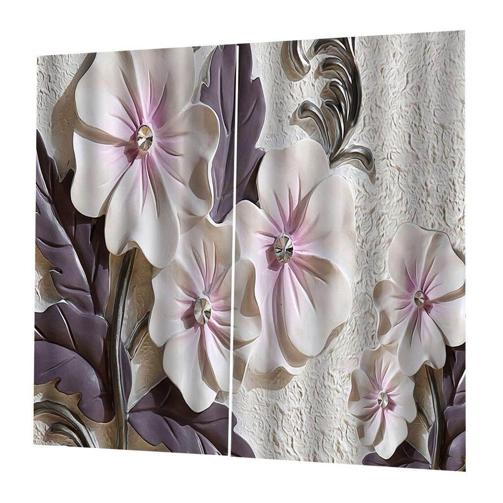 Miracle Shining 2 Panels Digital Printing Light Reducing Curtain 3D Flower Living Room Decor