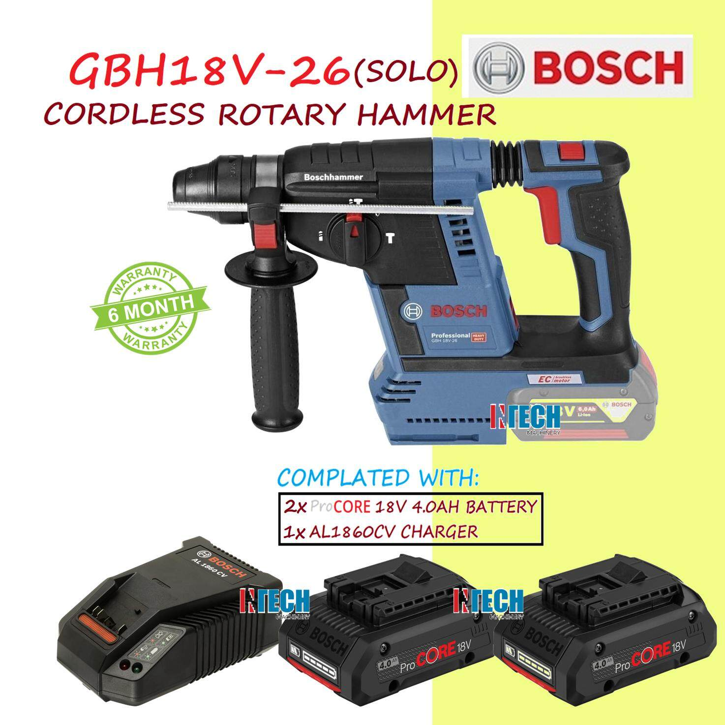 BOSCH GBH18V-26(SOLO)CORDLESS ROTARY HAMMER+AL1860CV CHARGER+2xPROCORE 18V 4.0AH BATTERY