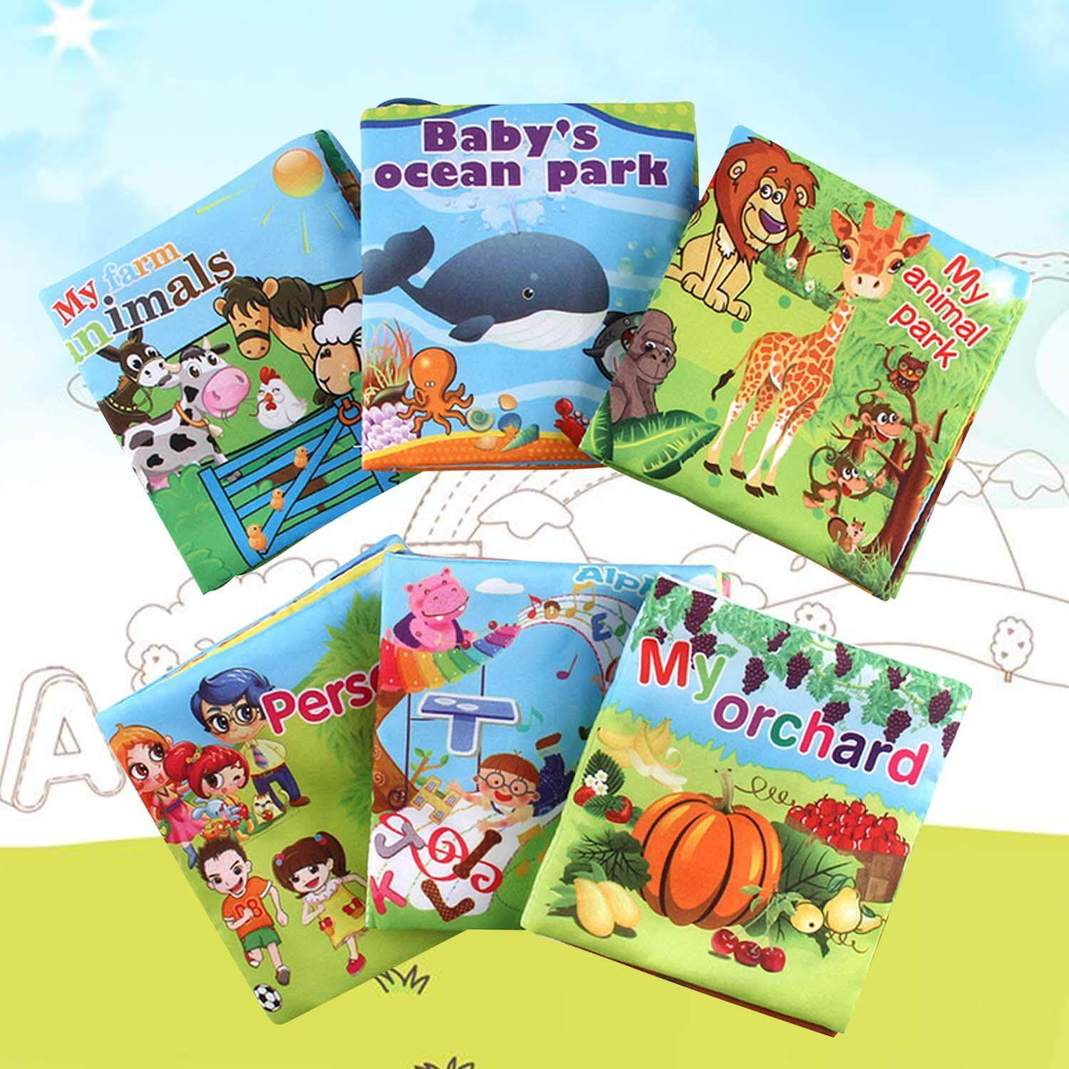 6 PCS Baby Mini Early Educational Color Soft Fabric Cloth Book Animal Undersea Fruit Vegetable Alphabet Theme Book for 0-3 Years Old Kids