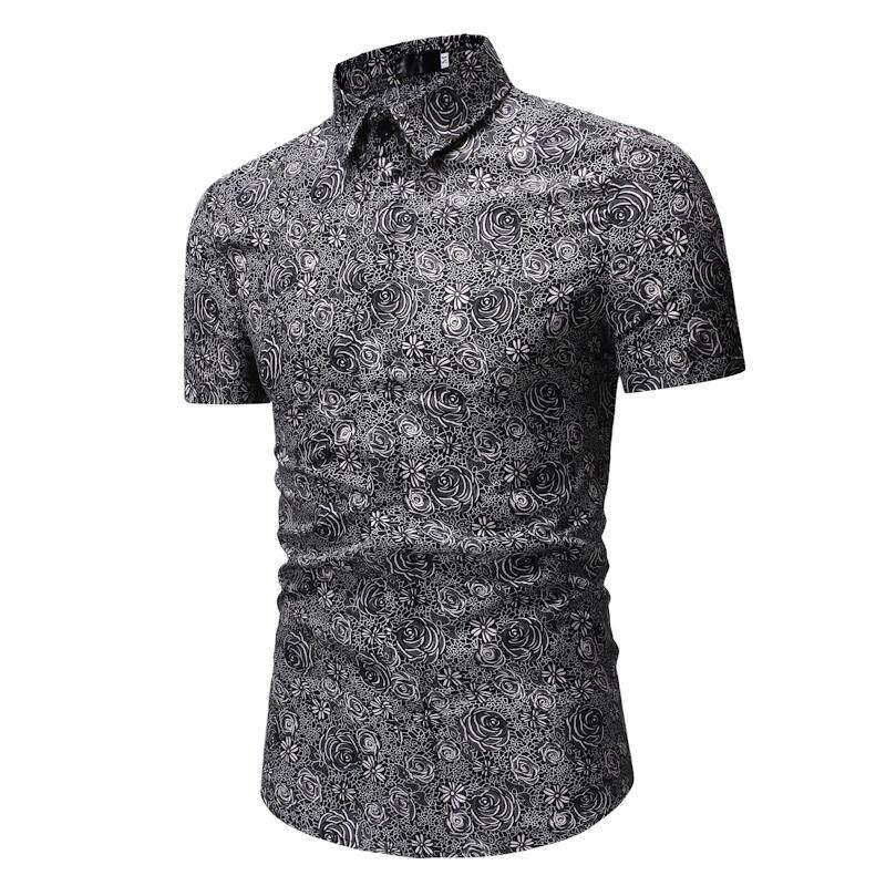 Mens Dress Shirts Casual Short Sleeve Flower Blouse Men New model Shirts  Mens Blue Gray bee2f9683