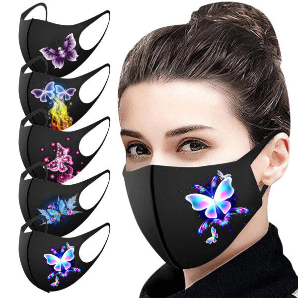 FREE SHIPPING 5/10/25PCS Adults Prints Protection Face Cover Washable  Face Cover On Sale