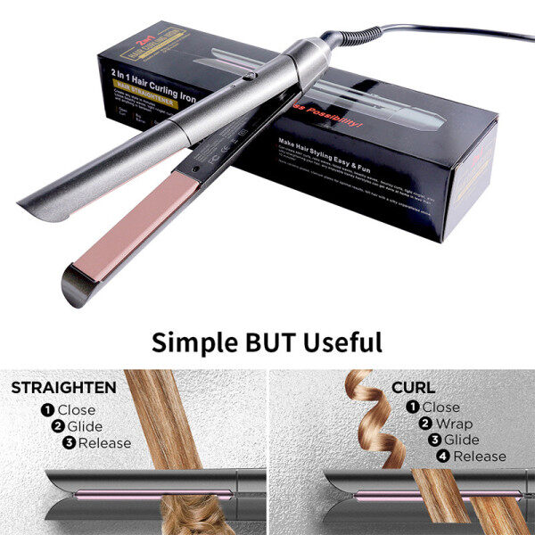 Buy New Style 2 in 1 Portable Mini Straightening Iron Hair Straightener Hair Curler Constant Temperature Daily Straight Singapore