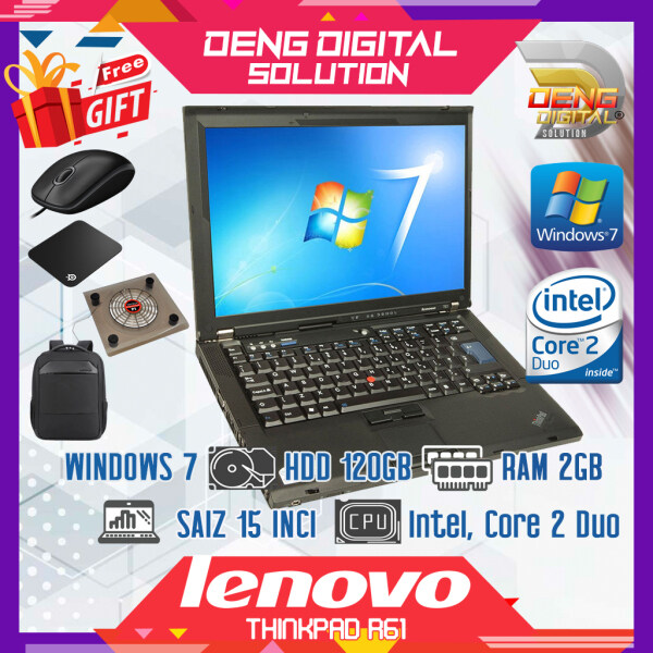 Laptop Budget Murah - Lenovo R61 15 Inci, Windows 7, HDD 120GB, 2GB Ram, Intel, Core 2 Duo Malaysia