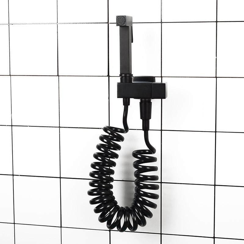 Matte Black Square Toilet Bidet Sprayer Kit. Wall Mounted Bathroom Brass Bidet Faucet With Bracket 1.5 & 3 Meter Shower Hose