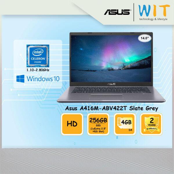 Asus Laptop A416M-ABV422T Slate Grey/Intel Celeron N4020 1.10~2.80GHz/4GB D4/256GB SSD(1xExtra 2.5HDD Slot)/14.0HD/Intel Share Malaysia