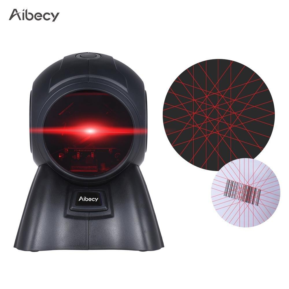 Aibecy Omni-directional 20 Lines 1D USB Orbit Barcode Scanner Reader Auto Scanning 1800t/s Speed 30° Adjustable Head