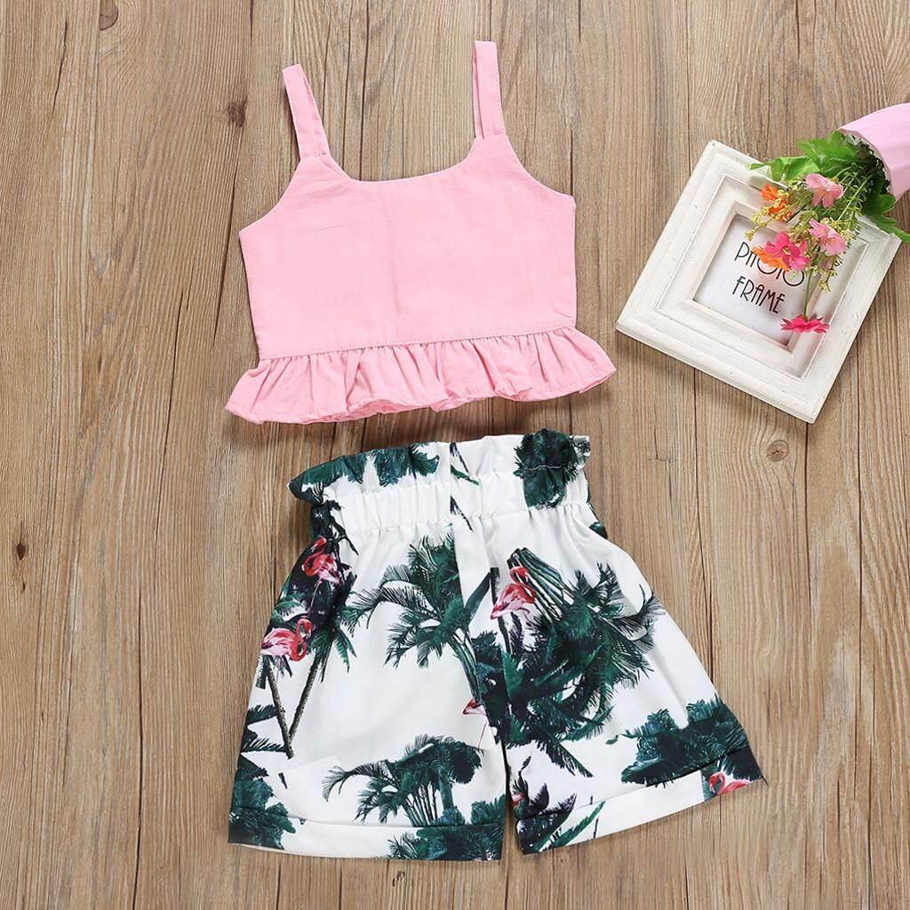 fe57a29ed67e 2019 M&K Ralphshop Toddler Baby Girl Kids Clothes T shirt Tops Casual Floral  Shorts Pants Set