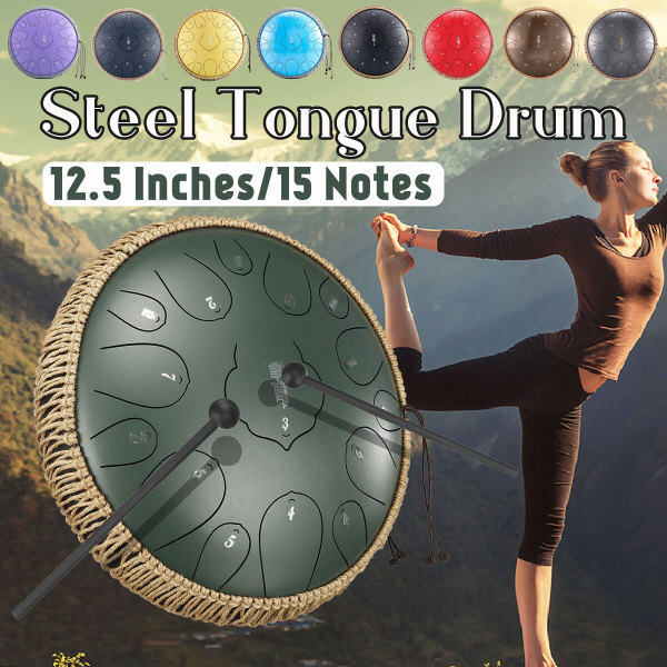 12.5 Steel Tongue Drum 15 Notes Hand Tankdrum With Handmade Rattan Bag Mallet Malaysia