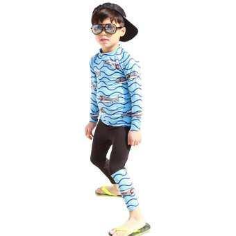 การ์ตูนเด็กผู้ชายครีมกันแดดแห้งเร็วว่ายน้ำแขนยาวเสื้อกางเกง