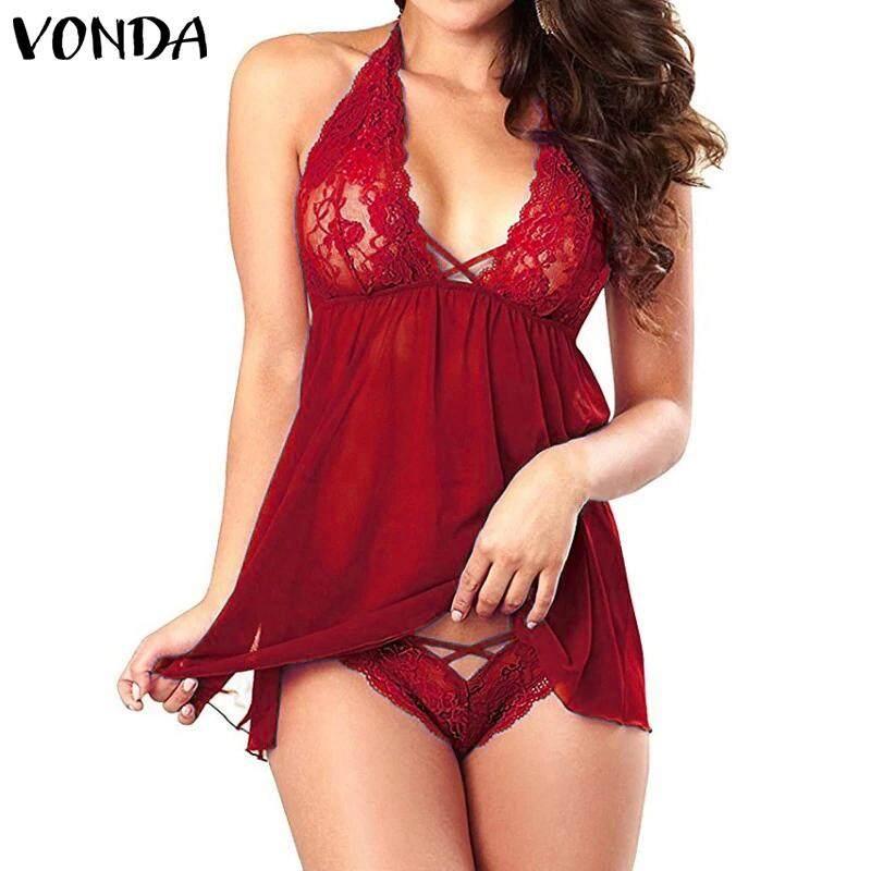 0b28be8f937 VONDA Women Halter V Neck Backless Underwear Sleepdress Sexy Lace Mini Dress  Sleepwear