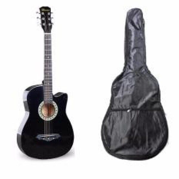 Mavies 38 Inch Acoustic Guitar black ColorFree Soft Case Bag & Strap. Malaysia