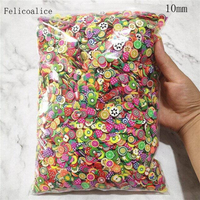 1kg 10mm Polymer Clay Fruit Slice Hot Clay Sprinkles for Crafts DIY Nail Art Decoration Slime Material Accessories