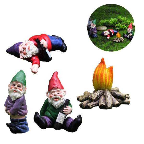 Perfk 4x Mini Gnomes Fairy Garden Resin Miniature Ornament for Outdoor Home Decor