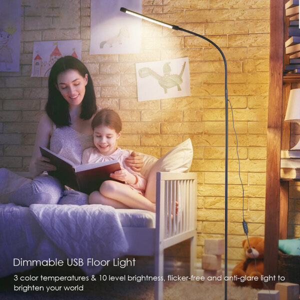Dimmable USB Floor Light LEDs Standing Lamp 3 Color Temperatures 10 Level Brightness High Lumens Switch Control for Reading Living Room Bedroom