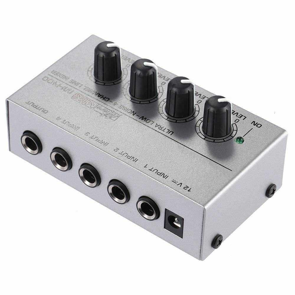 MX400 Siêu Nhỏ Tiếng Ồn Thấp 4 Kênh Line Mono Trộn Âm Thanh Với Bộ Đổi Nguồn