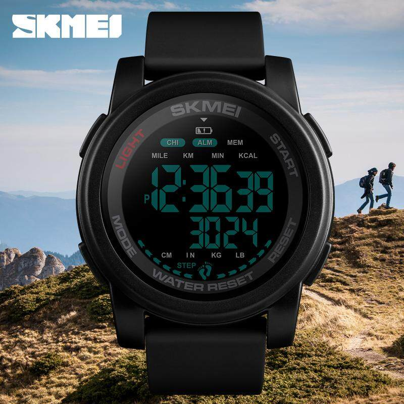 SKMEI Men Digital Watch Calorie Pedometer Countdown Sport Wristwatches Waterproof Man Military Bracelet Alarm Clock Malaysia