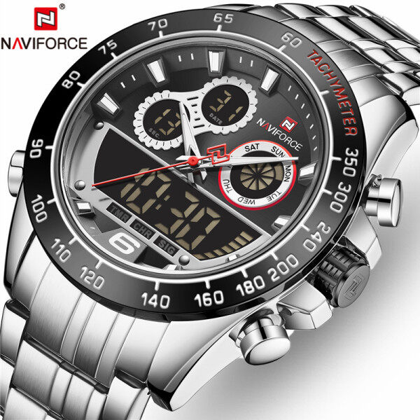 NAVIFORCE Top Brand Mens Watches Fashion Full Steel LED Digital Quartz Clock Men Casual Waterproof Chronograph Sport Watch Malaysia