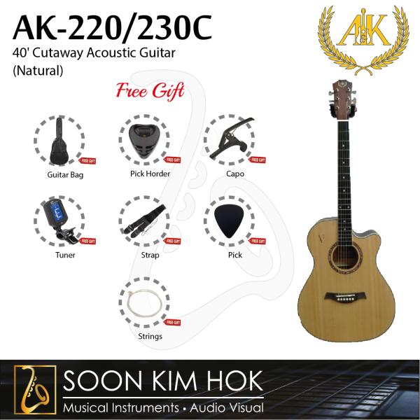 A&K AK-220/230C 40 Cutaway Acoustic Guitar (Natural) (AK220/230C) Malaysia