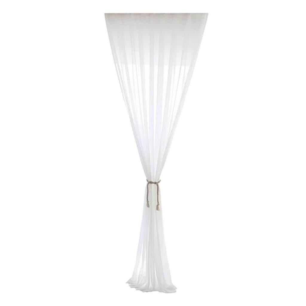 BolehDeals Sheer White Chiffon Window Curtain Panel for Balcony Bedroom