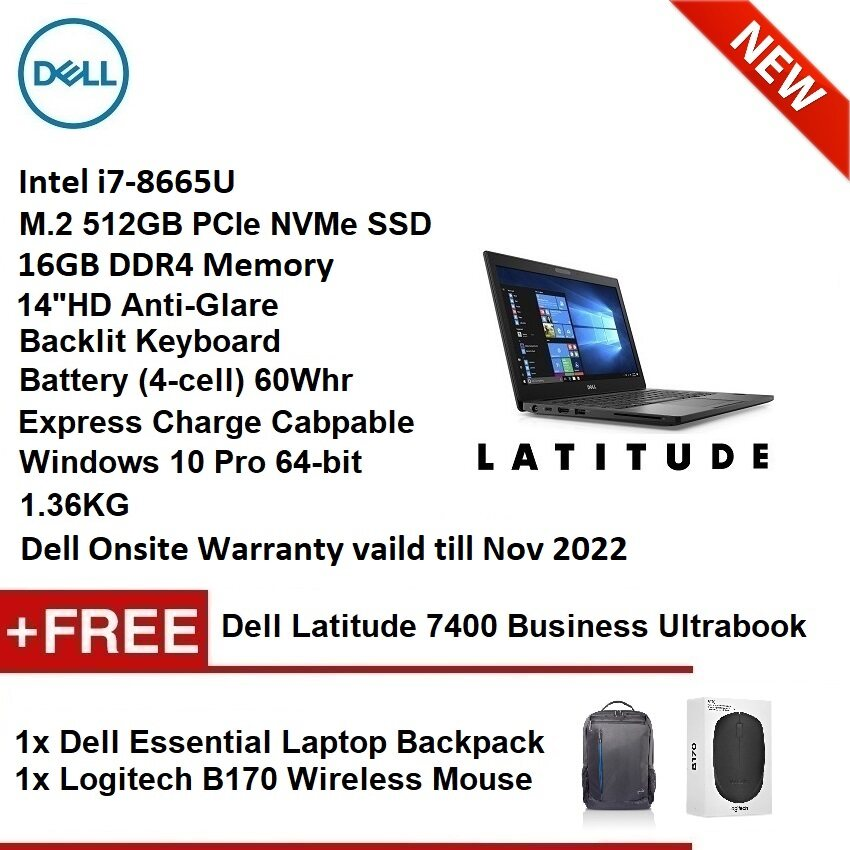 DELL LATITUDE 7400 (INTEL i7-8665U,16GB,512GB SSD,HD,WIN10PRO) BUSINESS NOTEBOOK ULTRABOOK (Display Set 99% NEW) Malaysia