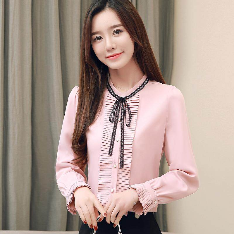 8b9b8fb1cc0 AFEG New Korean Stand Collar Lace Bow Pleated Chiffon Slim Long Sleeve  Blouse