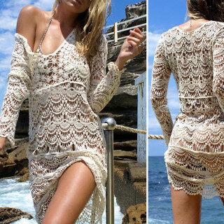 Bikini Bãi Biển Ren DệT Kim Thêu Crochet Bãi Biển Che Lên Tắm Suit Pareo Trắng Robe De Plag Phụ Nữ Cover-Up thumbnail