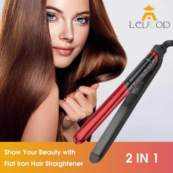 Buy Hair Straightener 2 IN 1 Flat Iron Hair Curler Straightening Irons LCD Display Titanium Plates Electric Ceramic Flat Iron Hair Styling Tool Tourmaline curling Christmas Gift Singapore