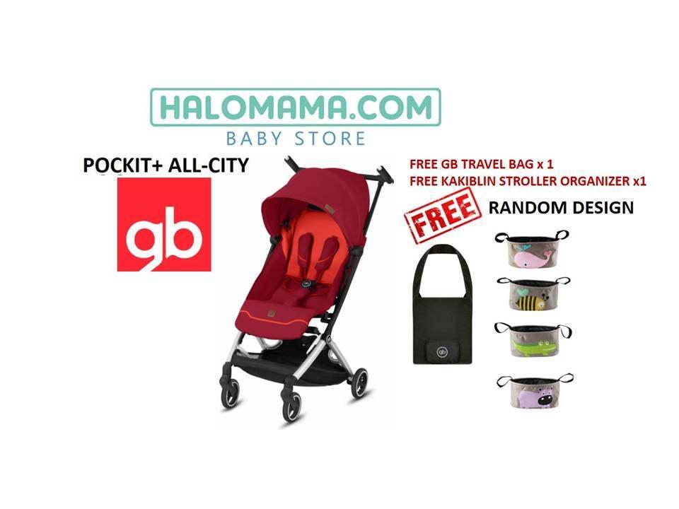GB POCKIT ALL CITY (VELVET BLACK / NIGHT BLUE / ROSE RED) FREE GB TRAVEL BAG + KAKIBLIN STROLLER ORGANIZER RANDOM DESIGN