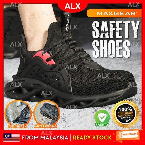 ALX Malaysia MAXGEAR Safety Shoes Anti Slip Anti Smash Protective Steel Toe Cap Boots Kasut Kerja Breathable Kasut Keselamatan