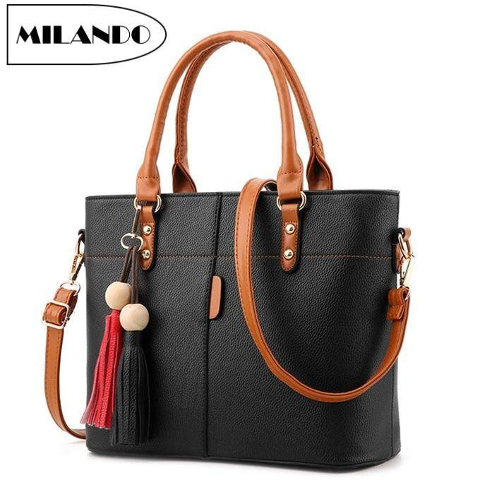 9d1ea1072 MILANDO Ladies Women PU Leather Handbag Tote Sling Bag Handbeg Beg Wanita  (Type 11)