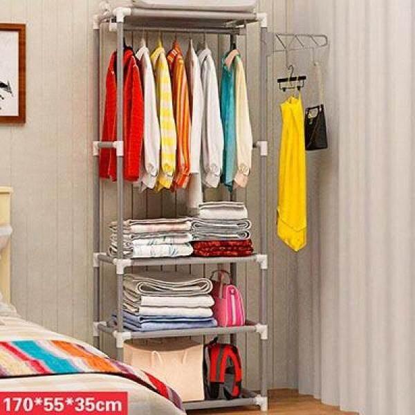Simple Metal Iron Coat Rack Floor Standing Clothes Hanging Storage Shelf Clothes Hanger Racks Bedroom Furniture