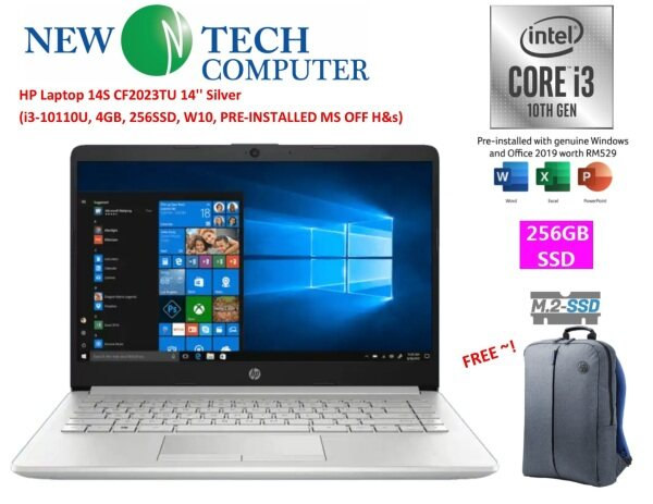 HP 14S-CF2023TU SILVER  LAPTOP (I3-10110U,4GB,256GB SSD,WIN10) FREE MS OFFICE H&S 2019 Malaysia