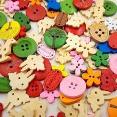 Bộ 100 đa dạng nhiều màu hình hoạt hình nút TỰ LÀM bằng gỗ thủ công xanh nút gỗ trang trí khóa vật liệu vẽ