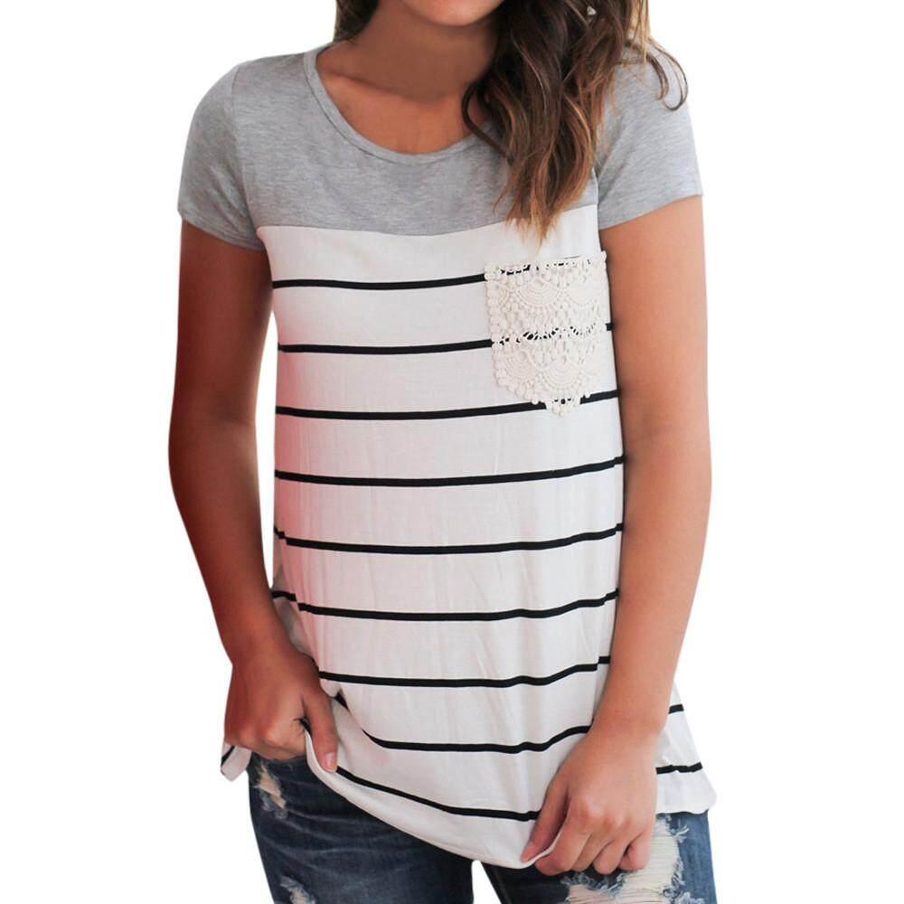 fbec6a768775 Women Casual Splice Lace Pocket Short Sleeve Tops T-Shirt Crop Blouse