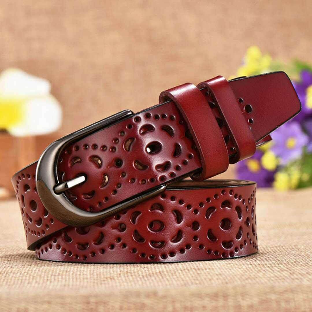 a09986098ef9a Women Fashion Wide Genuine Leather Belt Floral Carved Cow Skin Belts for  Jeans Top Quality Female