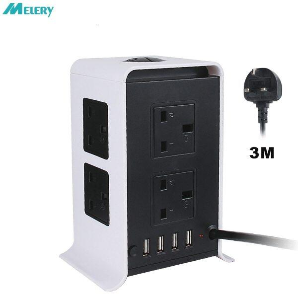 Tower Power Strips Surge Protector Extension Leads 3M/9.8Ft Overload Protection With 8 Way Outlets 4 Usb Ports For Home Office