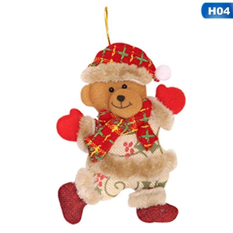Merry Christmas Santa Claus Snowman Tree Toys Hang Doll Decorations Soft Push Toys For Children