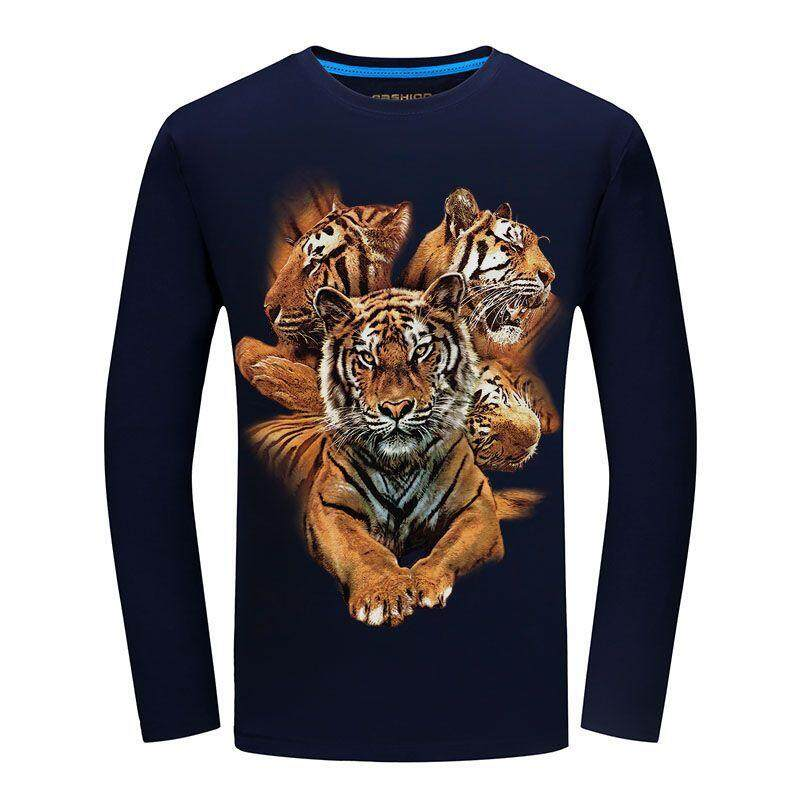 Autumn New Men s Long-sleeved T-shirt Large Size Bottoming Shirt Personality  3d Tiger 8798a6d70