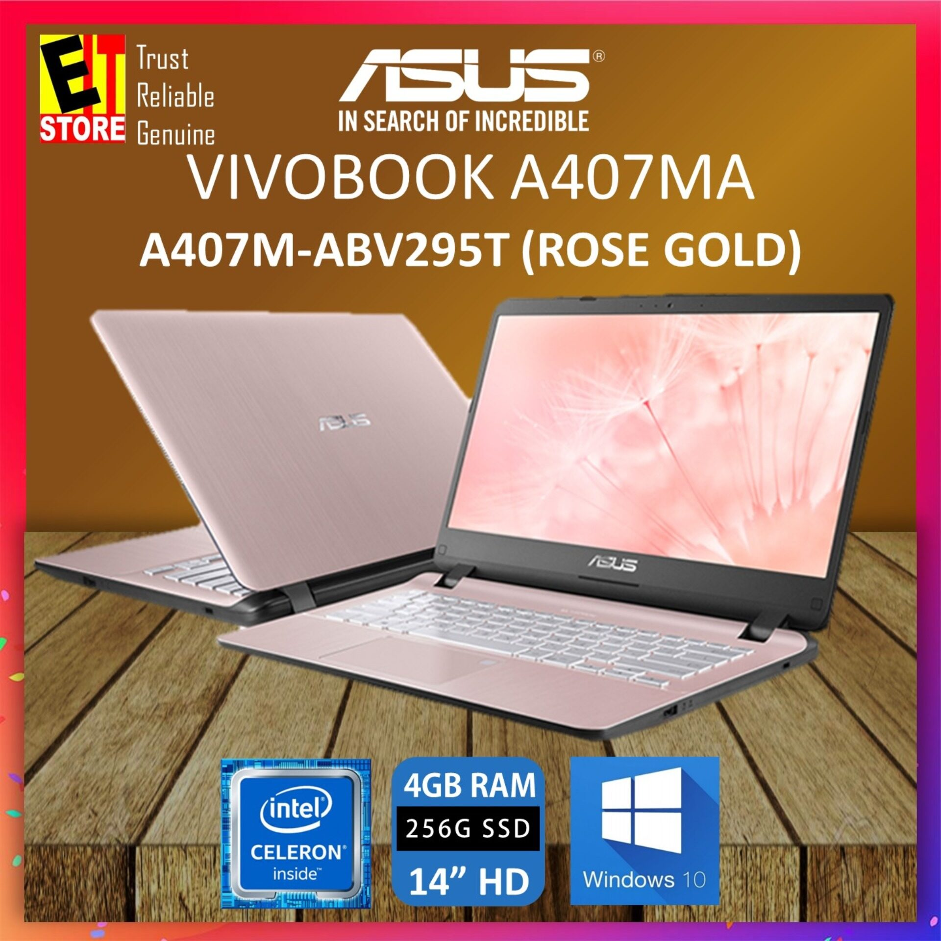 ASUS VIVOBOOK A407M-ABV295T ROSE GOLD LAPTOP (CELERON N4000,4GB,256GB SSD,14 ,W10,1YR) + BACKPACK Malaysia