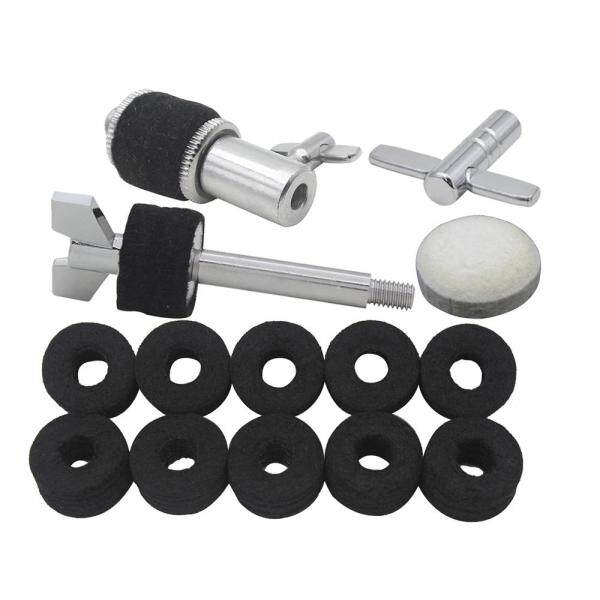 Drum Set Accessories Kit Including Hi-Hat Clutch + Wool Felt Pad for Bass Drum Pedal Beater + 10pcs Cymbal Felt Washers + Cymbal Stacker + Drum Key