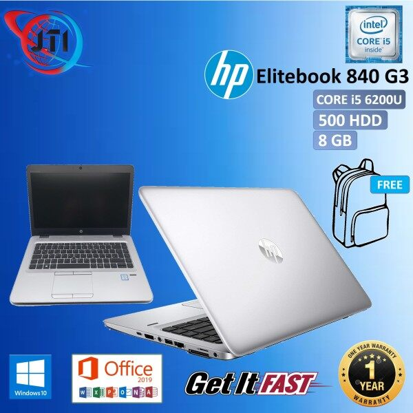 HP Elitebook 840 G3 CORE i5 - 6200U / 8 GB RAM / 128 GB SSD / 500 GB HDD / 256 GB SSD /14 INCHES SCREEN / WINDOWS 10 PRO / REFURBISHED Malaysia
