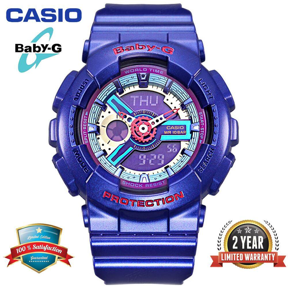 (Ready Stock)Original Casio Baby G_BA-112-2A Women Sport Digital Watch Dual Time Display 100M Water Resistant Shockproof and Waterproof World Time LED Light Girl Sports Wrist Watches with 2 Year Warranty BA112/BA-112 Malaysia