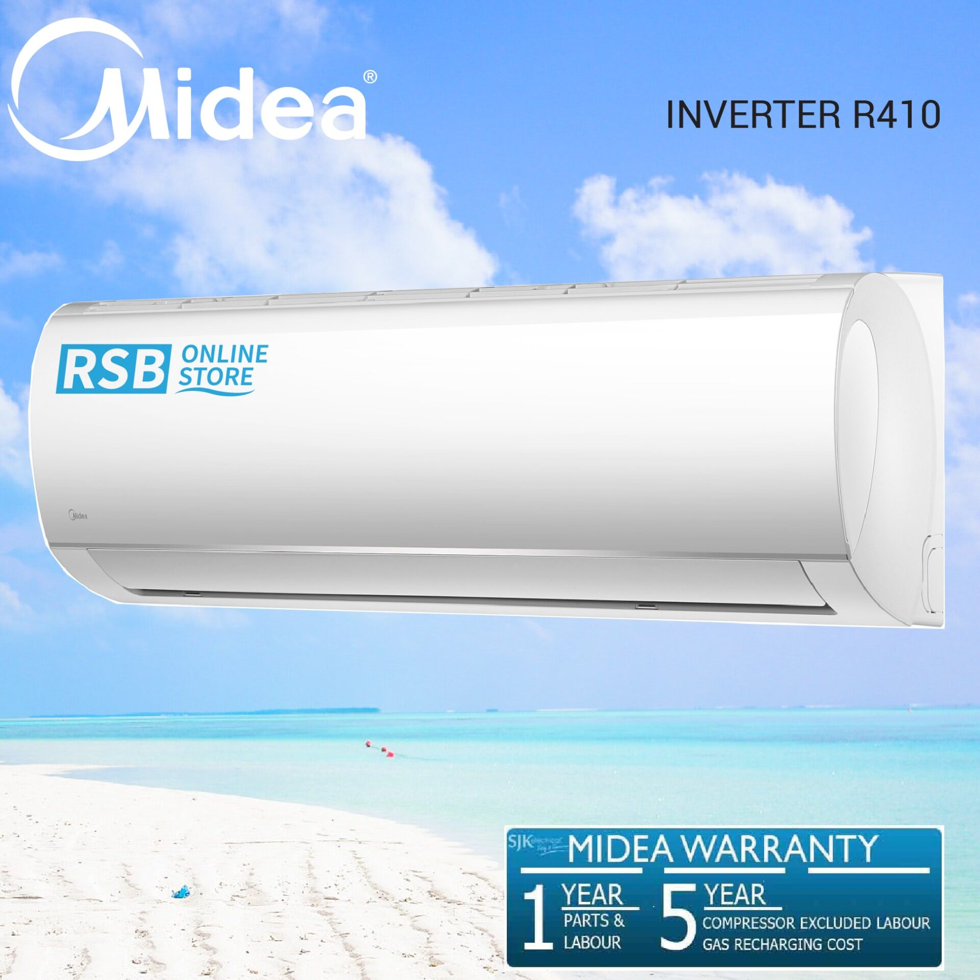 Midea Air Conditioner Blanc Series Inverter Wall Mounted 1.5 Hp R410A