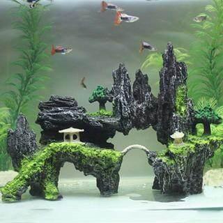 Huanhuang Đồ trang trí bể cá hình hang đá có cây cầu nhỏ bắc ngang vật dụng trang trí bể cá (kích thước 24cm x 9cm x 18cm) - INTL thumbnail