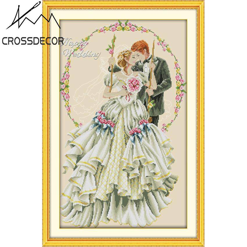Stamped Cross Stitch Set Happy Wedding  11CT Beige Cloth DIY Handmade Embroider Needlework Pre-Printed On the Cloth Modern Style Home Room Decor DMC Complete Kits
