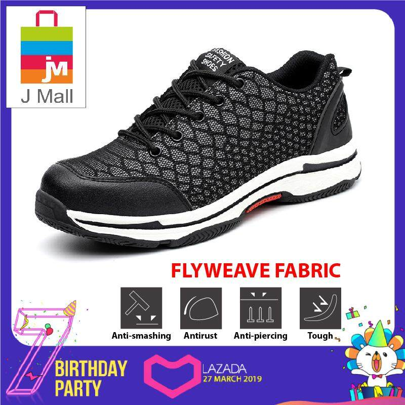 J Mall Fashion Night Reflective Low-Cut Steel Toe Cap Work Safety Shoes (Flyweave Fabric)  538 - Black